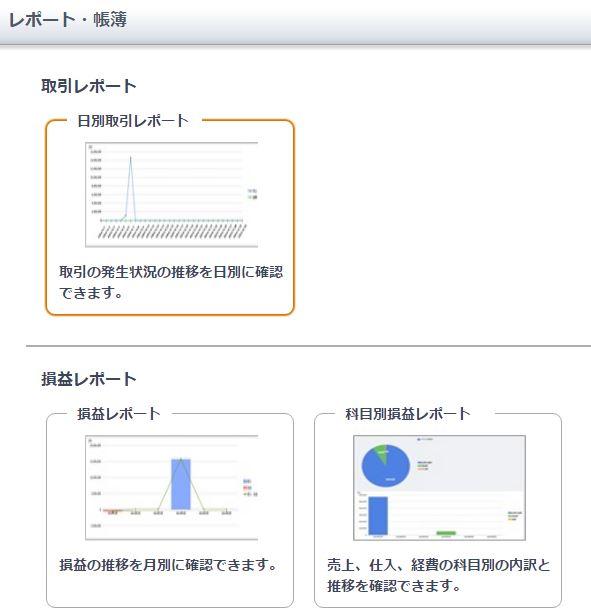 レポートと帳簿の機能