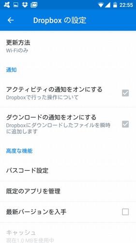Dropboxの詳細設定画面