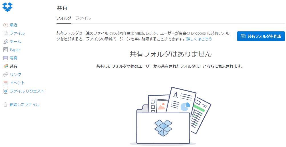 パソコン側のDropbox共有フォルダを作成する画面