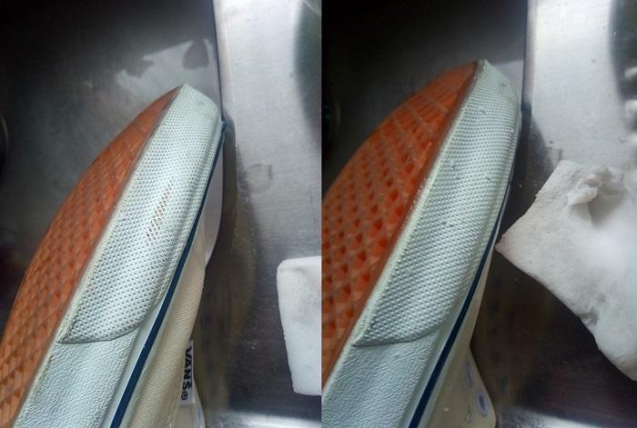 メラミンスポンジで磨く前と後の画像