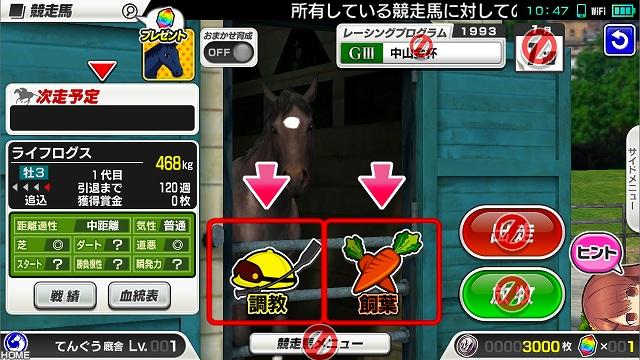 競走馬の育成画面