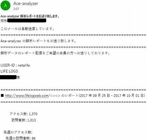 Ace-analyzerのメールレポート