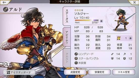 キャラクターのステータス画面