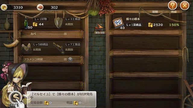 交易品の売買画面