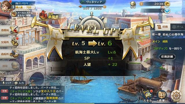 レベルアップ表示画面