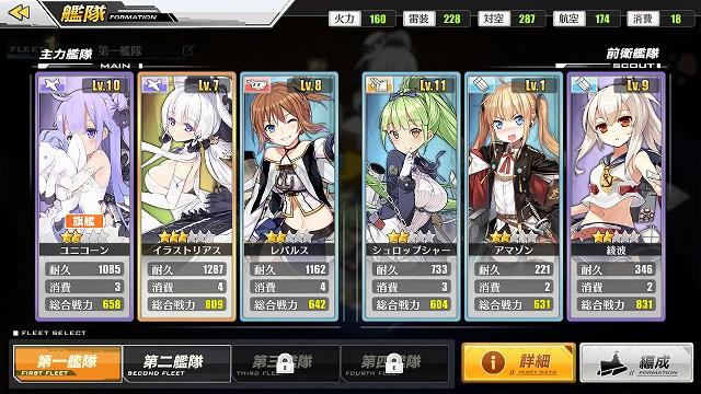 艦隊の確認画面