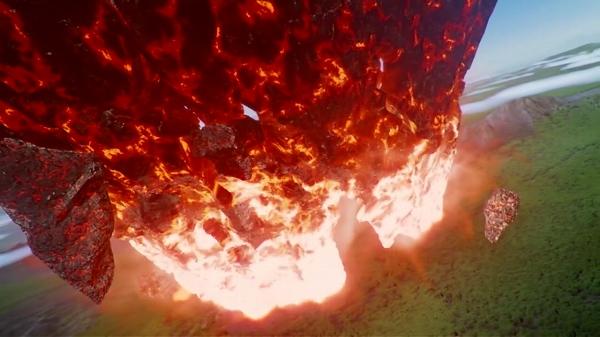 突如空に現れた謎の隕石