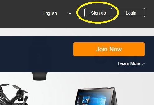 アフィリエイト登録のSign up