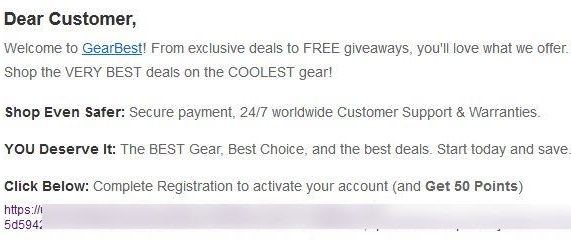 Gearbestから届いたメール