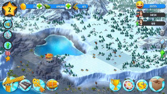 city5islandの雪島街づくり画面