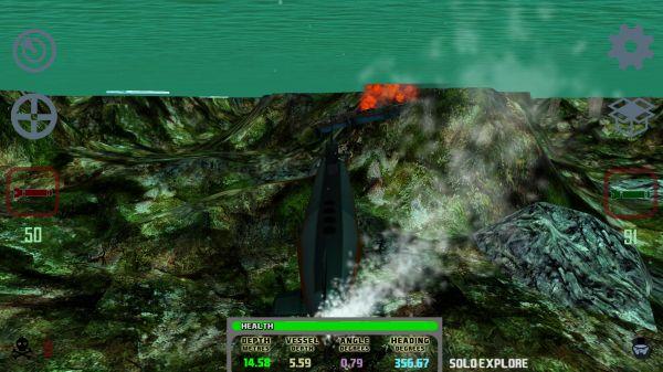 Submarine Sim MMOの潜水艦潜航シーン