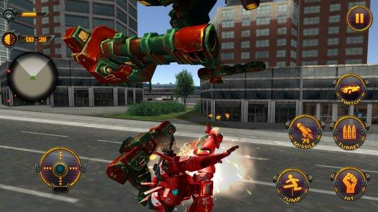 モンスターロボットヒーローシティバトルの戦闘画面