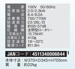MAC-20のスペック表