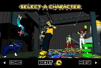 ジェットセットラジオのキャラクター選択画面