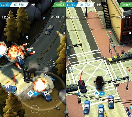 Smash Bandits Racingの警察車両の封鎖を突き破るシーン