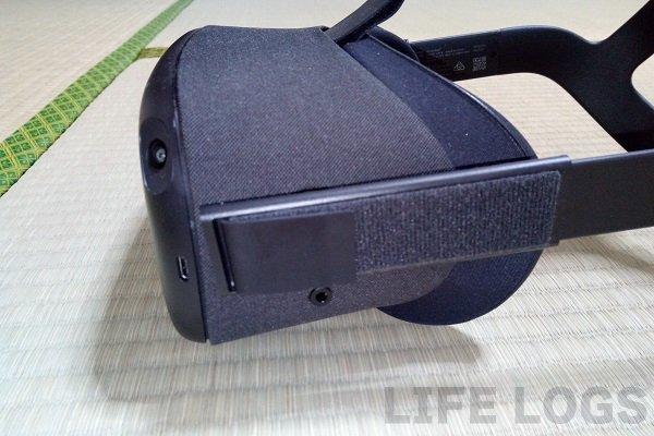 OculusQuestの側面(イヤホンジャック説明)