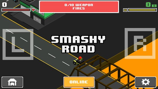 Smashy Road: Wantedのスタート画面