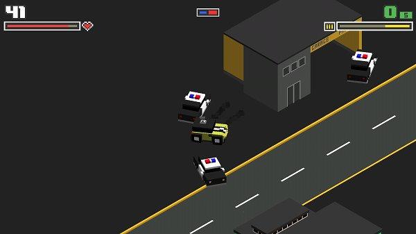 警察のパトカーと衝突するプレイヤーの車