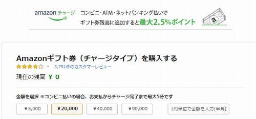 Amazonチャージギフト券の購入画面