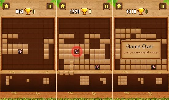 ウッドブロックパズルのボムモードゲーム画面