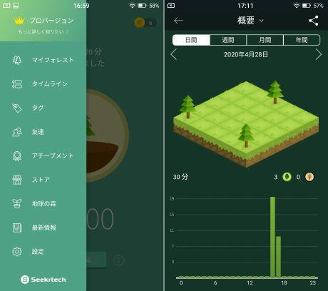 Forestアプリのメニューと概要画面