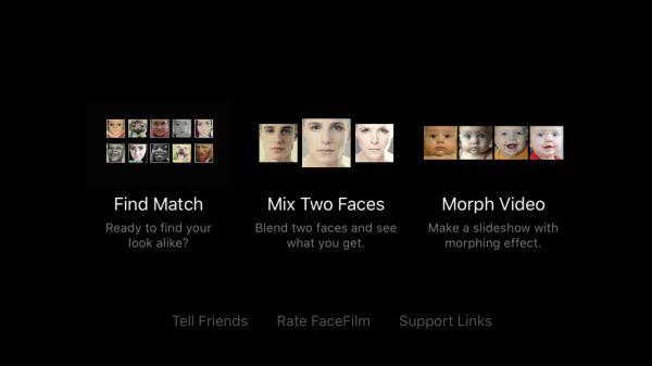 FaceFilmのメニュー画面