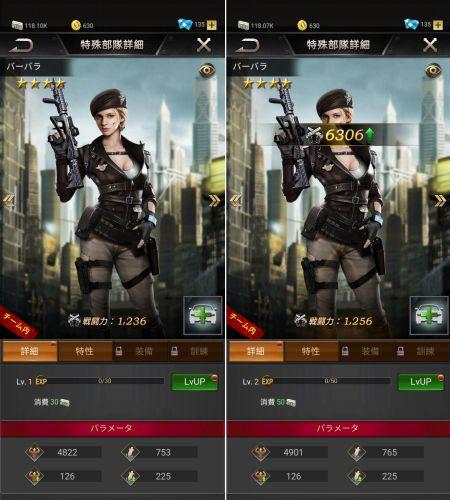 部隊キャラクターのレベルアップ