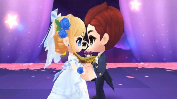 結婚式で見つめ合うカップル