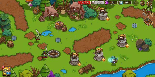 防衛ヒーロー物語のタワーディフェンスゲーム画面