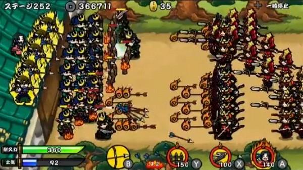 サムライディフェンダーのゲーム画面